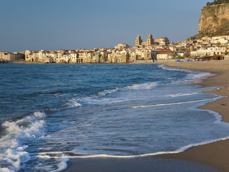 Beach at sunset, Cefalu, Northern coast, Sicily